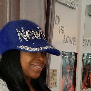 Royal Blue Rhinestone and Angora New York Hats